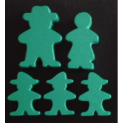 Wooden Game Pieces - Deluxe Family (Green)