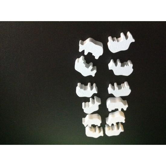 Wooden Game Pieces - Cows White (12 pcs)
